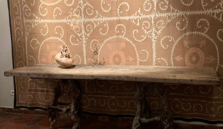 Console Table with One Slab 17th Century Top on 19th Century Winebranch Consoles For Sale 3