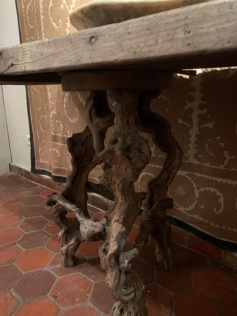 Console Table with One Slab 17th Century Top on 19th Century Winebranch Consoles For Sale 4