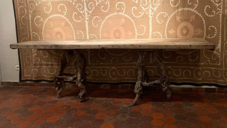 Console Table with One Slab 17th Century Top on 19th Century Winebranch Consoles For Sale 6