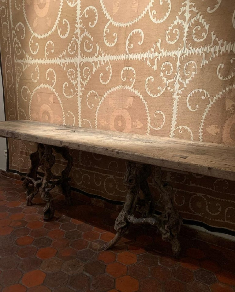 Finnish Console Table with One Slab 17th Century Top on 19th Century Winebranch Consoles For Sale