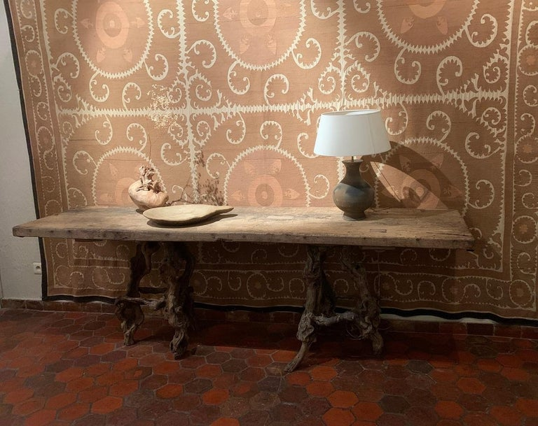Hand-Crafted Console Table with One Slab 17th Century Top on 19th Century Winebranch Consoles For Sale