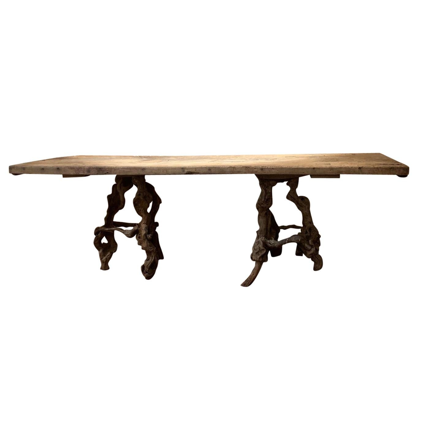 Console Table with One Slab 17th Century Top on 19th Century Winebranch Consoles