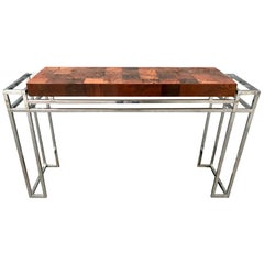 Console Table Wood Inlay and Chrome, in the Style of Willy Rizzo, 1970