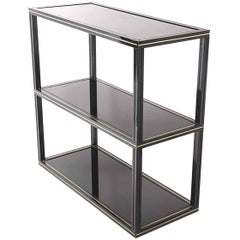 Console Very Rare by Pierre Vandel, Lacquered Metal, and Black Glass Shelves