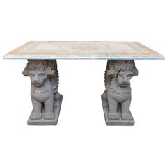 Console with Inlaid Marble Top on Cast Stone Supports