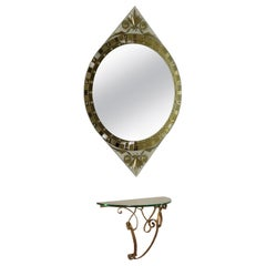 Console with Mirror, Gilded Metal and Crystal, Italy, 1950s