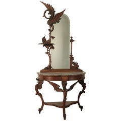Console with Mirror, Walnut and Marble, Italy, 19th Century