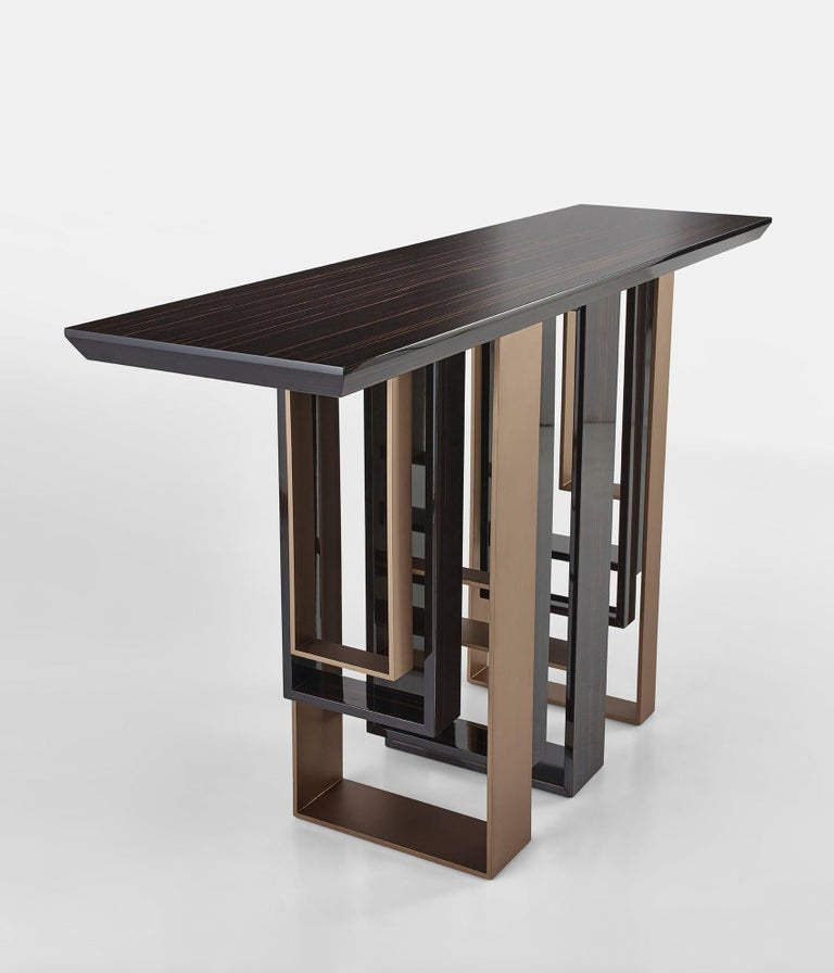 Other Console with Polished Ebony and Champagne Liquid Metal Finish Legs Top in Ebony For Sale