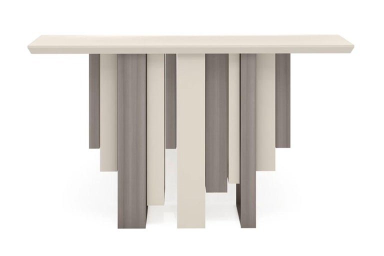 Italian Console with Polished Ebony and Champagne Liquid Metal Finish Legs Top in Ebony For Sale
