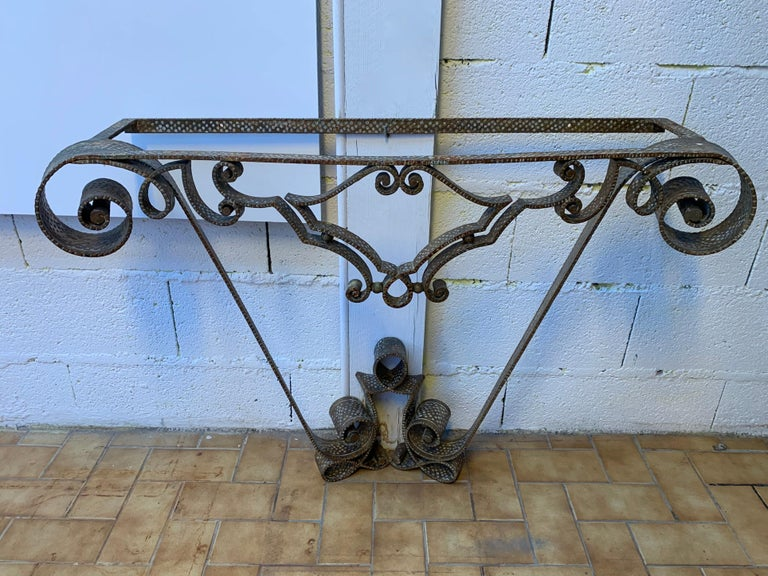 Console Wrought Iron Gold Leaf by Pier Luigi Colli, Italy, 1950s For Sale 4