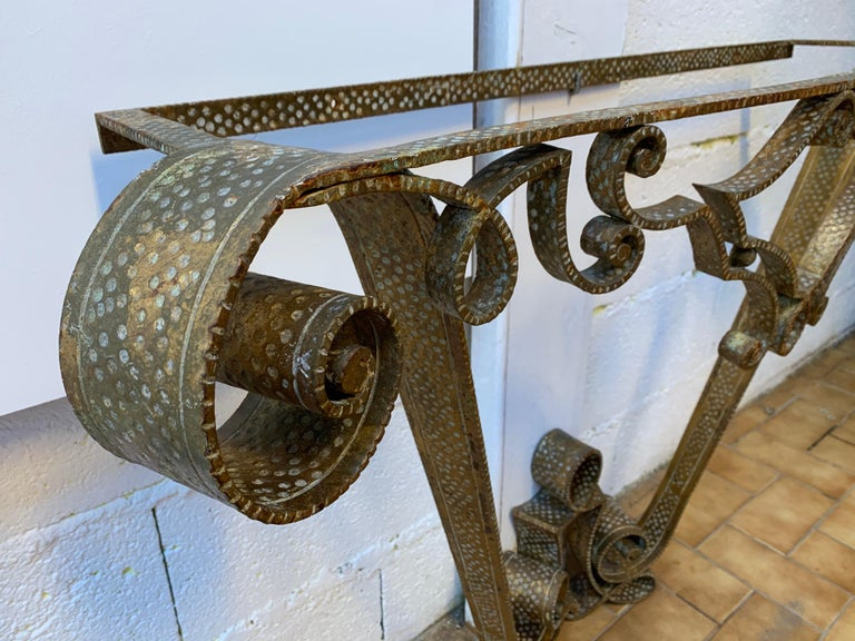 Console Wrought Iron Gold Leaf by Pier Luigi Colli, Italy, 1950s In Good Condition For Sale In SAINT-OUEN, FR