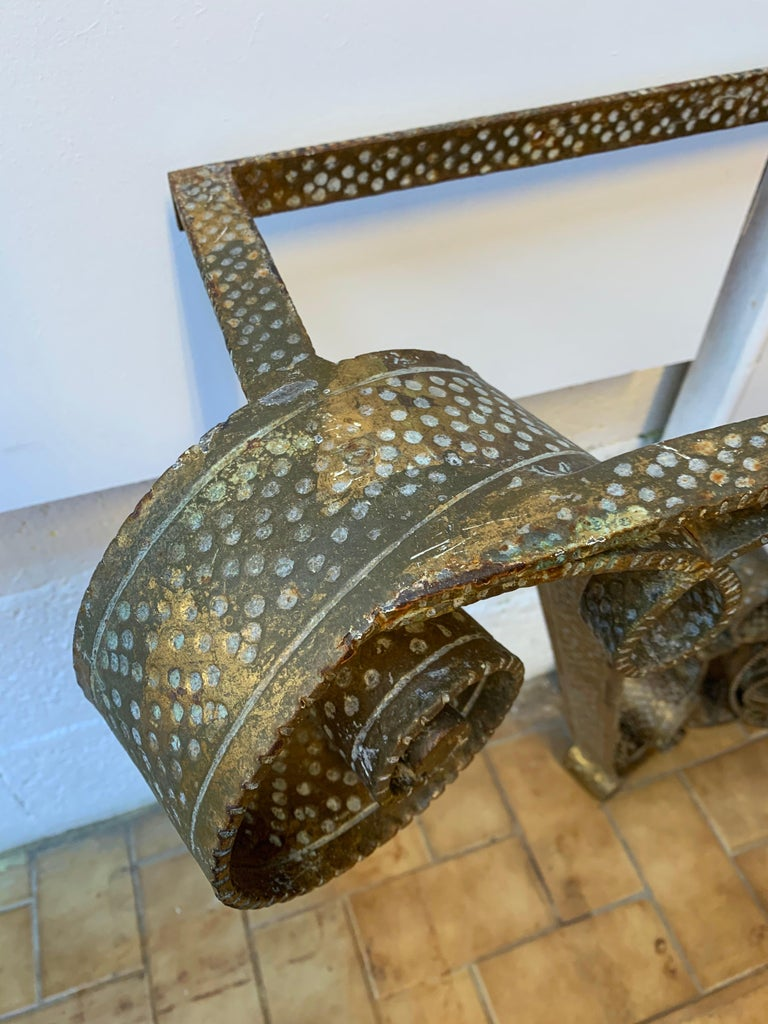 Console Wrought Iron Gold Leaf by Pier Luigi Colli, Italy, 1950s For Sale 1