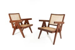 Consolidated Listing of Pair of Easy Chairs and Bench by Pierre Jeanneret