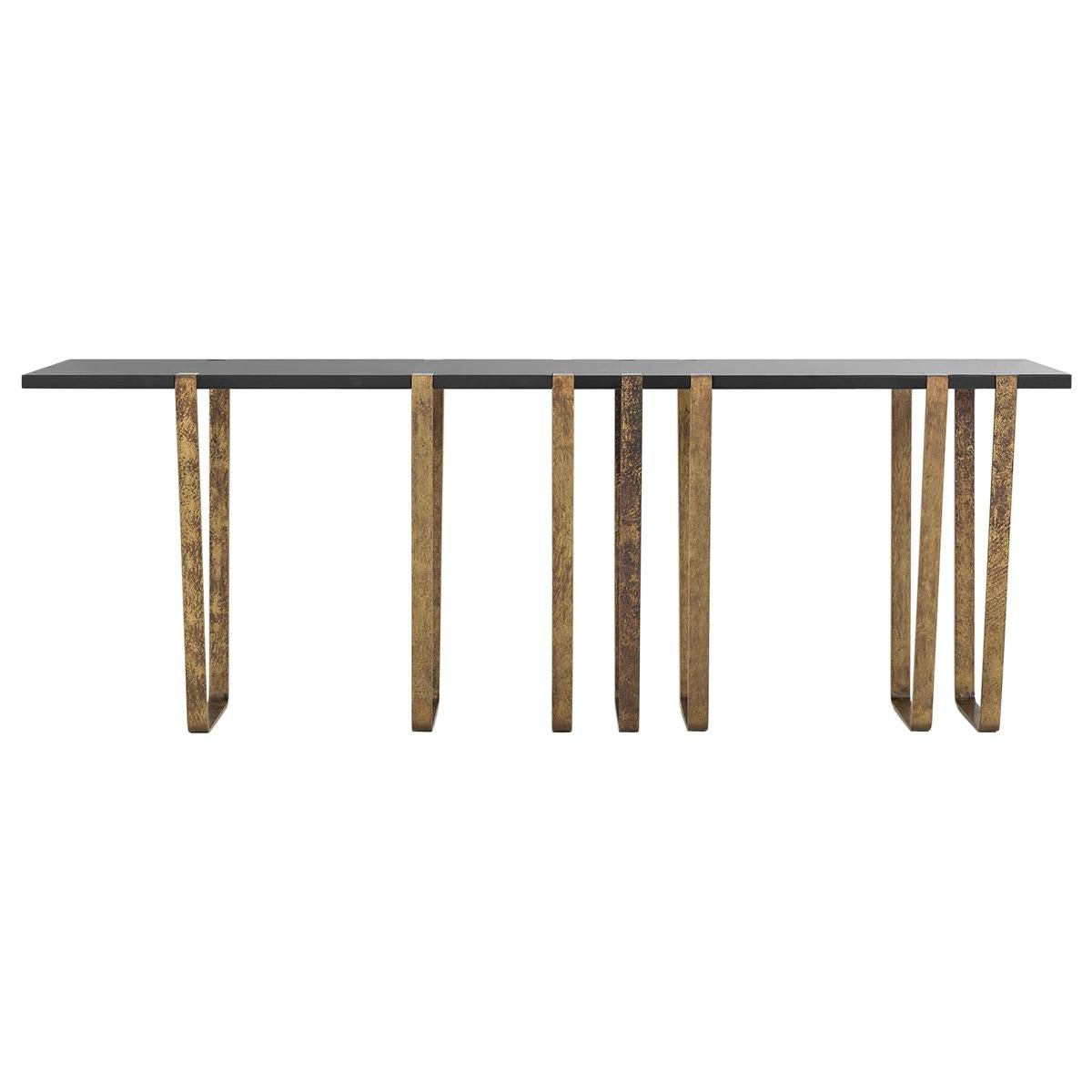 Consolle 021 Wall Fixed Console in Brass and Lacquered Wood by Dimoremilano