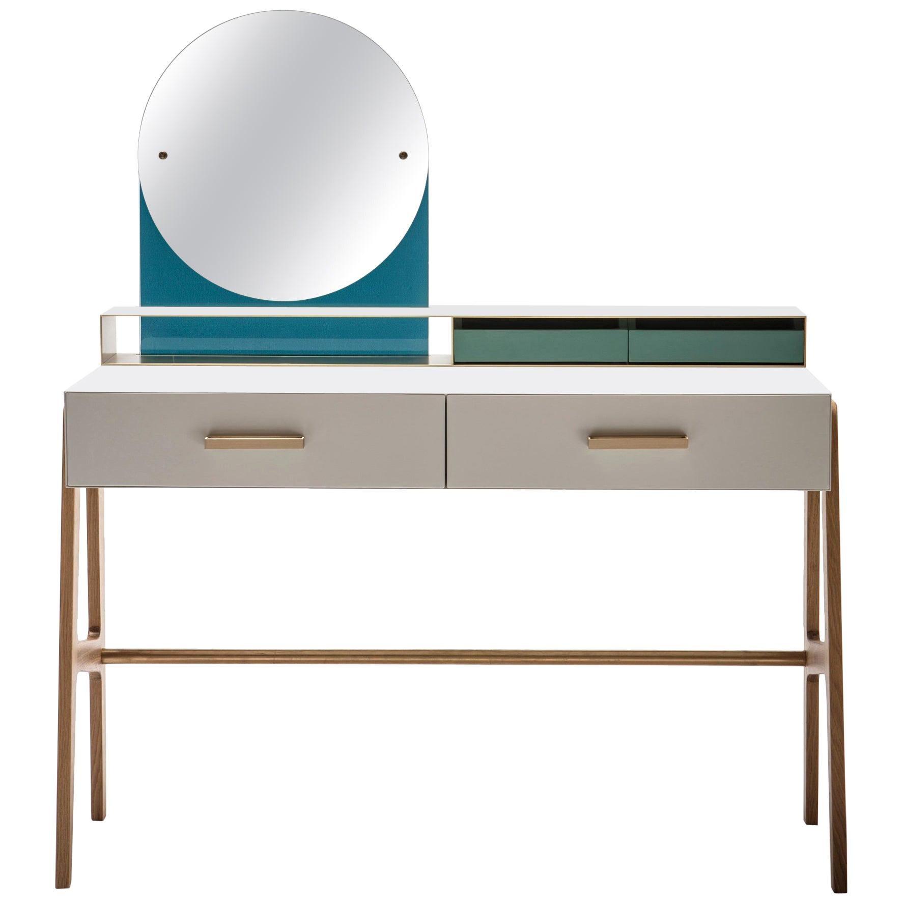 Contemporary beauty desk, makeup table, jewel case, mirror. Lacquered oak, brass