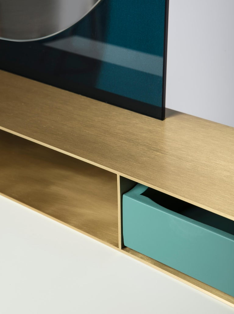 Modern Contemporary beauty desk, makeup table, jewel case, mirror. Lacquered oak, brass For Sale
