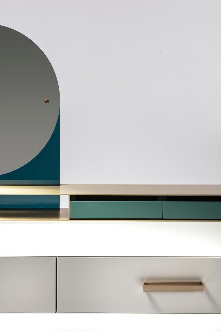 Italian Contemporary beauty desk, makeup table, jewel case, mirror. Lacquered oak, brass For Sale