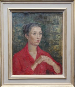 Lady in Red Portrait - British Post Impressionist 50s oil painting female artist