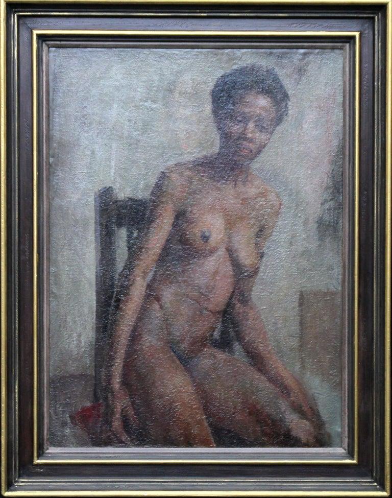 Nude - British Impressionist art 50s oil painting black nude woman female artist For Sale 6