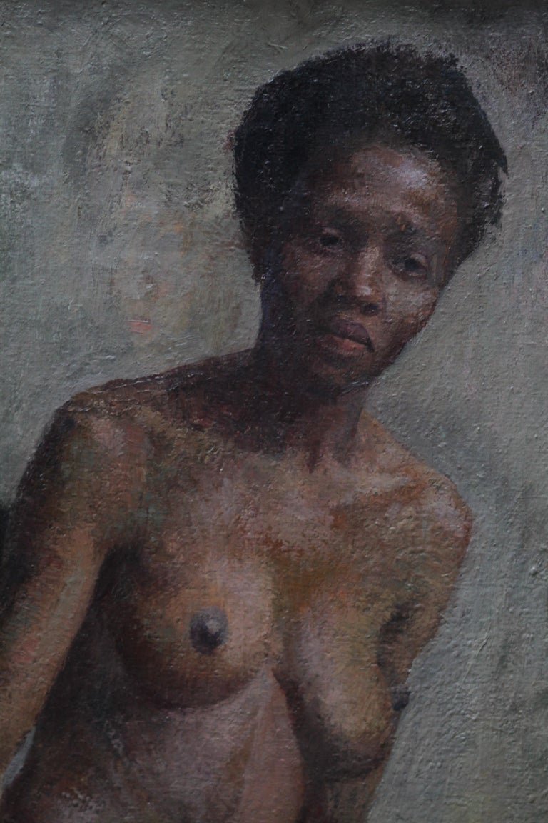 Nude - British Impressionist art 50s oil painting black nude woman female artist - Black Nude Painting by Constance Anne Parker