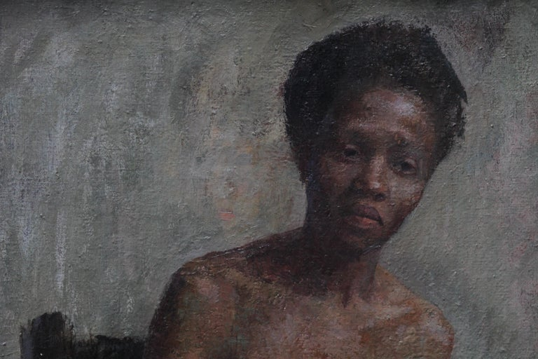 A super circa 1955 painting by British listed female artist Constance Anne Parker. A portrait oil painting in tones of blue and grey, depicting  a nude black woman. A very evocative period portrait of a woman. A highly regarded artist, the style is