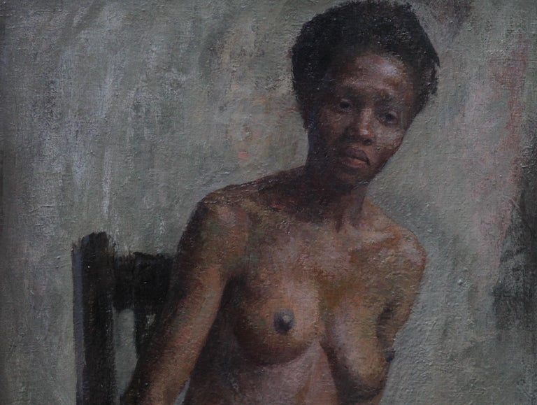 Nude - British Impressionist art 50s oil painting black nude woman female artist For Sale 1