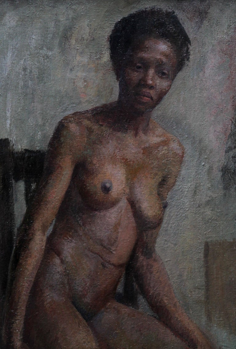Nude - British Impressionist art 50s oil painting black nude woman female artist For Sale 5