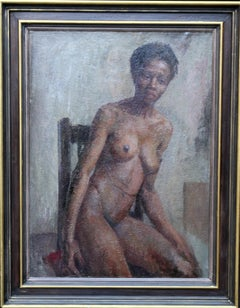 Nude - British Impressionist art 50s oil painting black nude woman female artist