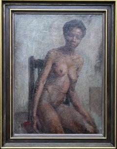 Nude - British Impressionist art 50s oil painting black nude woman female artist