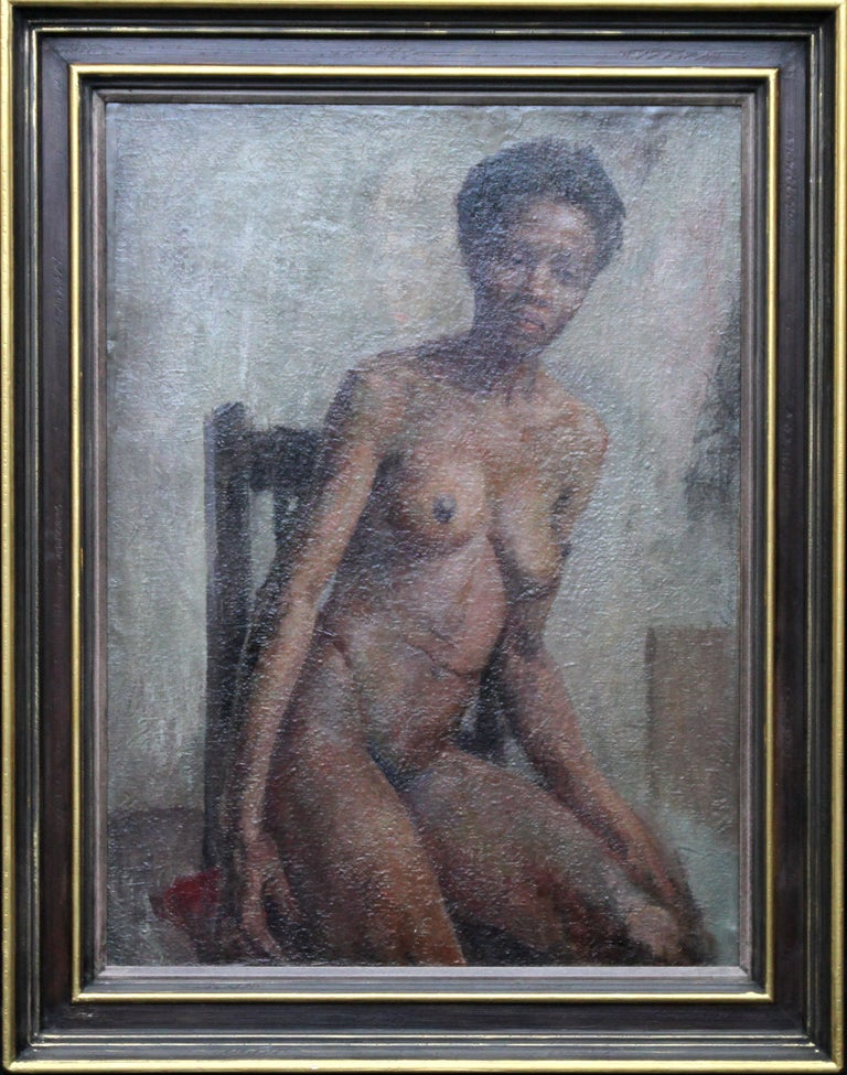 Constance Anne Parker Nude Painting - Nude - British Impressionist art 50s oil painting black nude woman female artist