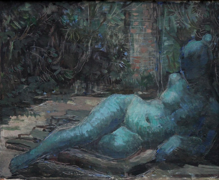 Nude Portrait in Blue - Surrealist art 50's oil painting reclining nude woman   - Painting by Constance Anne Parker