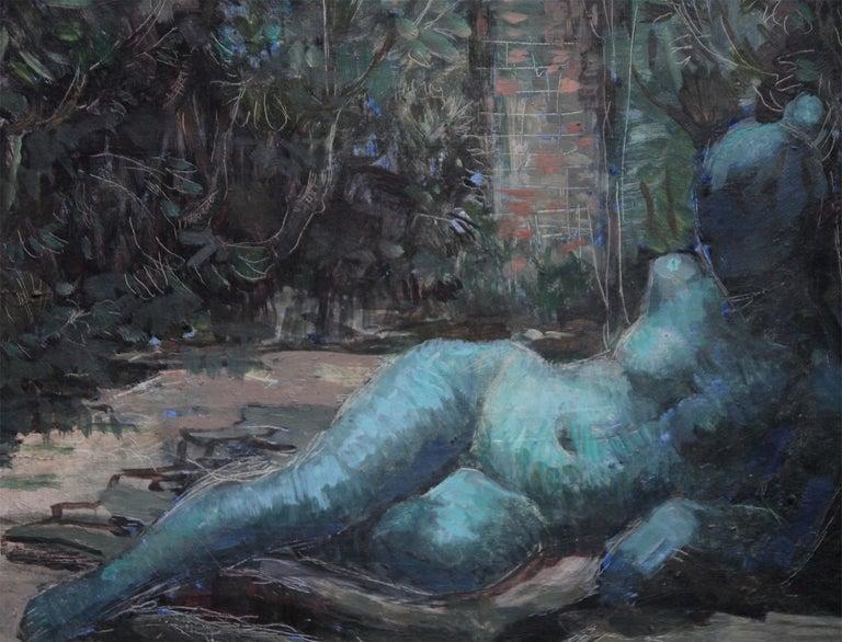 Nude Portrait in Blue - Surrealist art 50's oil painting reclining nude woman   - Black Portrait Painting by Constance Anne Parker