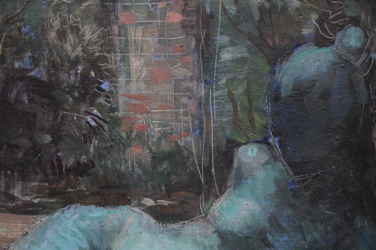 A super circa 1955 British Surrealist portrait oil painting by female artist Constance Anne parker. In tones of blue and green, the recling nude is outside in a garden setting - a cross between Graham Sutherland and Henry Moore in its depiction. It
