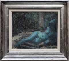Nude Portrait in Blue - Surrealist art 50's oil painting reclining nude woman