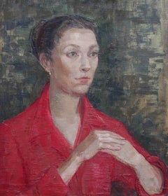 Portrait, Lady in Red- British Post Impressionist 50s oil painting female artist