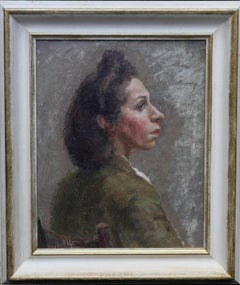 Portrait of a Lady - British 50's art oil painting woman in green female artist