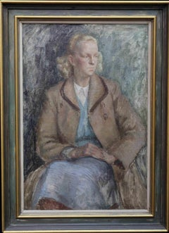 Portrait of a lady  - British 50's Post Impressionist oil painting blonde woman