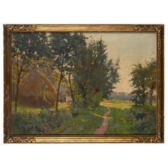 Constant Leemans, Bucolic County Road, Oil on Canvas, Signed and Framed