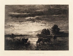 Paturage. Clair de lune - Original Etching by Constant Troyon - 19th Century