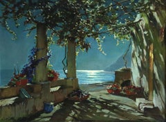 Capri - Moonlight - 20th Century Oil, Sea Landscape at Night by C A Westchiloff