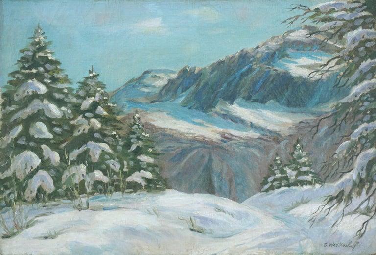 "Constantin Aleksandrovich Westchiloff Landscape Painting - Late 19th Century Landscape - ""After The Snow"""
