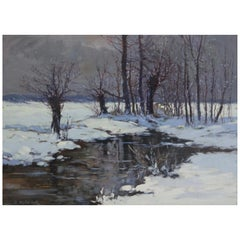 """Constantin Alexandrovitch Westchiloff """"Moonlit Meadows In The Snow"""""""