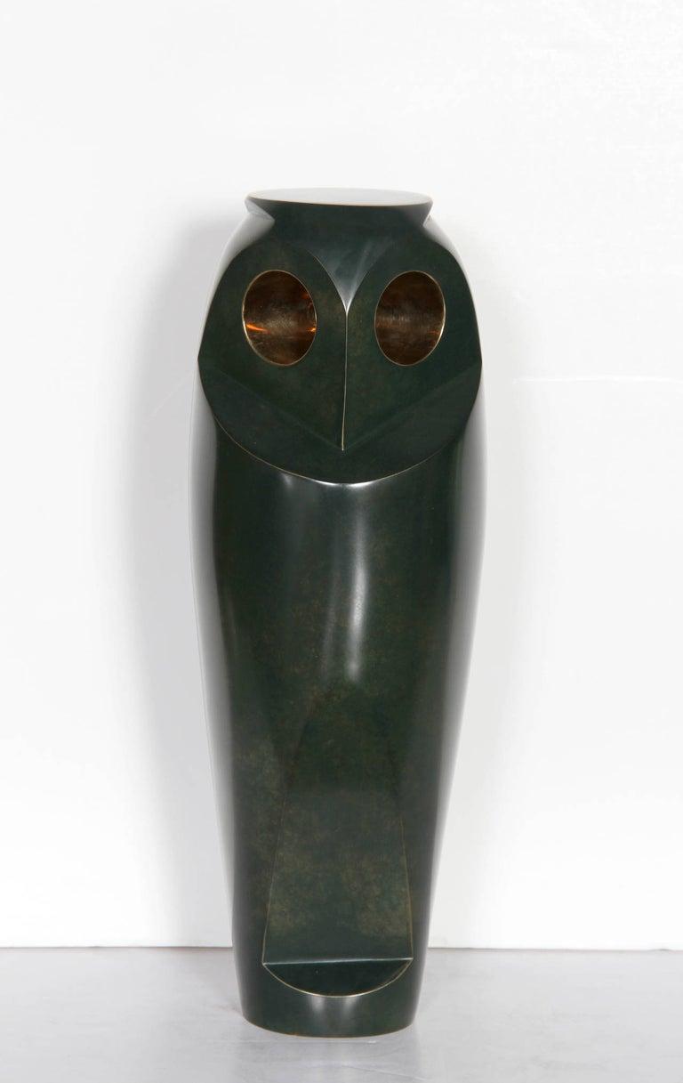 Constantin Antonovici Figurative Sculpture - Owl III, Patinated Bronze Sculpture by Antonovici