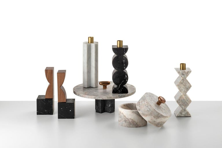 Machine-Made Constantin Art Inspired Bookends, Black Marquina Marble and Canaletto Walnut For Sale