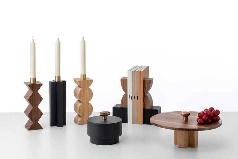 Constantin Art Inspired Bookends, Black Marquina Marble and Canaletto Walnut In New Condition For Sale In Milan, Lombardy