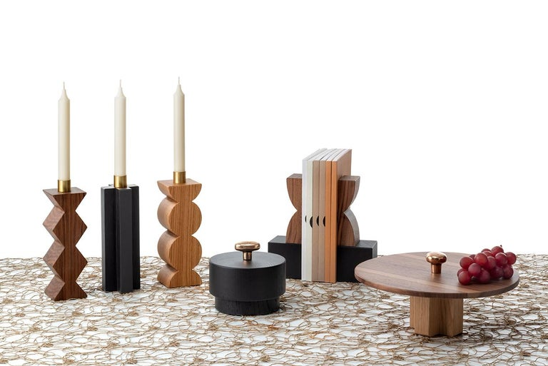 Contemporary Constantin Art Inspired Bookends, Black Marquina Marble and Canaletto Walnut For Sale