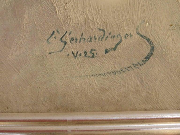 Oil paint on canvas, 1925 by Constantin Gerhardinger, Germany. Signed and dated lower left: . V.25 C Gerhardinger. Framed. Measurements: 43.5 x 37.99 in ( 110,5 x 96,5 cm )