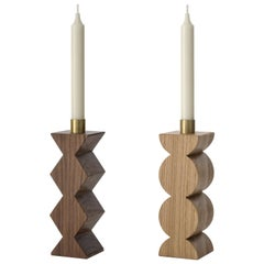 Constantin I + III set of two Candleholders in Solid Oak and Brass with Circles