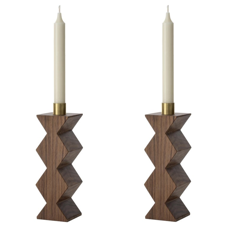Constantin III Set of Two Candleholders in Natural Walnut and Brass For Sale