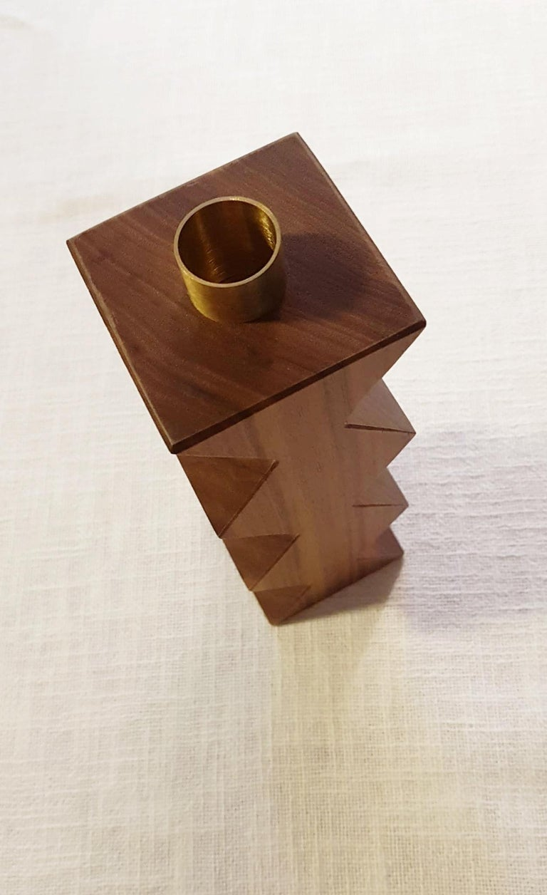 Italian Constantin III Set of Two Candleholders in Natural Walnut and Brass For Sale